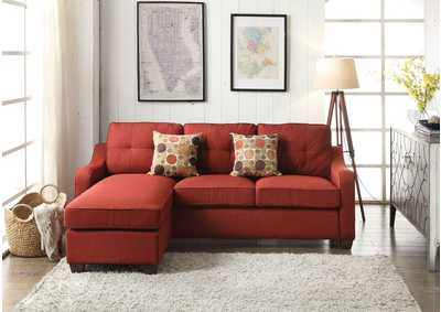Cleavon II Red Sectional Sofa (Rev. Chaise) & 2 Pillows,Acme