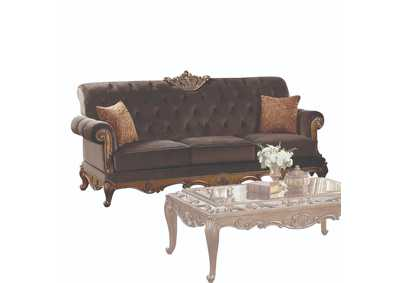 Orianne Charcoal Fabric & Antique Gold Sofa,Acme