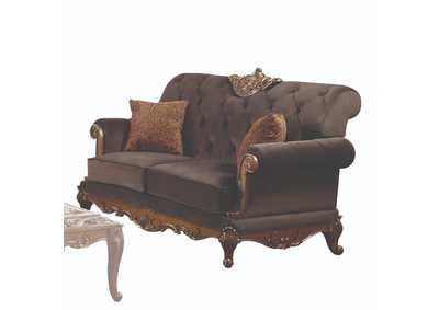 Orianne Charcoal Fabric & Antique Gold Loveseat,Acme