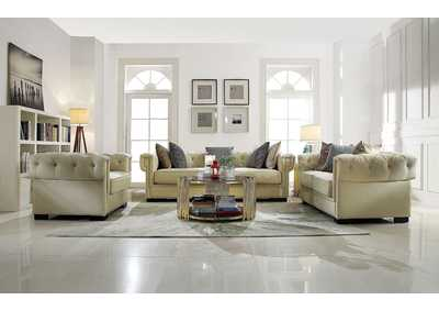 Eulalia Cream Polished Velvet Sofa,Acme