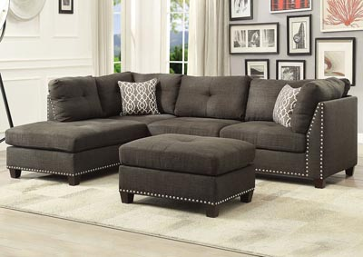 Image for Laurissa Charcoal Sectional Sofa and Ottoman w/2 Pillow