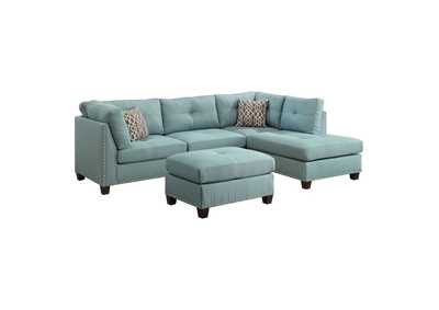 Laurissa Light Teal Linen Sectional Sofa