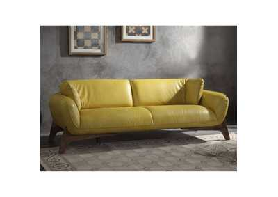 Image for Pesach Mustard Leather Sofa