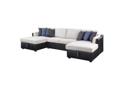 Image for Merill Beige/Black Sectional Sofa w/Sleeper