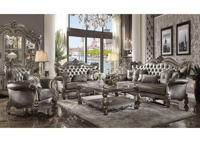 Versailles Silver PU & Antique Platinum Sofa,Acme