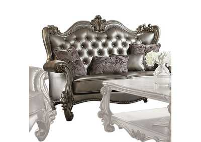 Image for Versailles Silver PU & Antique Platinum Loveseat