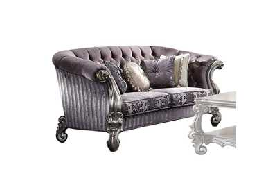 Versailles Velvet & Antique Platinum Loveseat,Acme