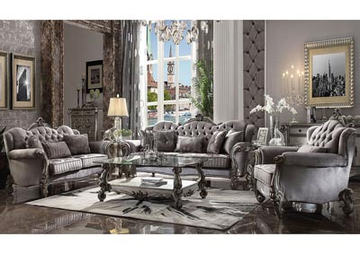 Versailles Antique Platinum Sofa and Loveseat
