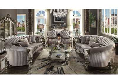 Versailles Velvet & Antique Platinum Sofa