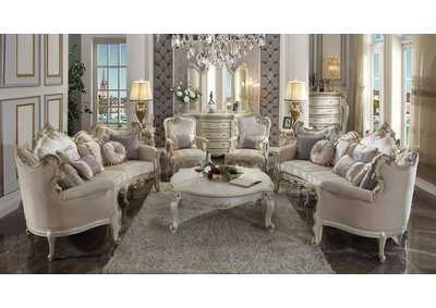 Picardy Fabric & Antique Pearl Sofa