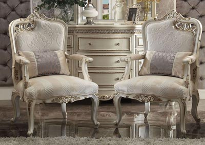 Picardy Fabric & Antique Pearl Accent Chair