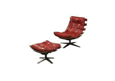 Image for Gandy Antique Red Chair and Ottoman (Set of 2)