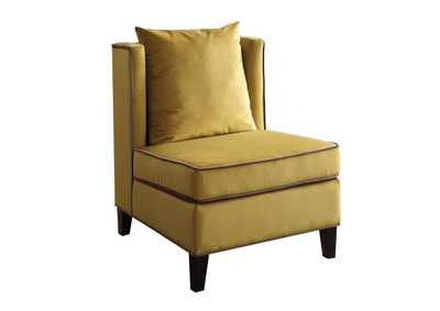 Ozella Chartreuse Yellow Velvet Accent Chair