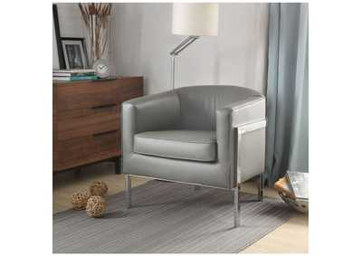 Tiarnan Vintage Gray PU & Chrome Accent Chair