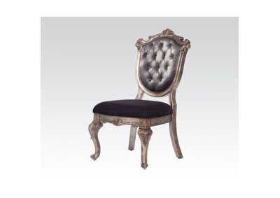 Chantelle Silver Gray Silk-Like Fabric & Antique Platinum Side Chair