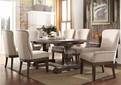 Landon Salvage Brown Extendable Dining Table w/2 Arm & 4 Side Chair