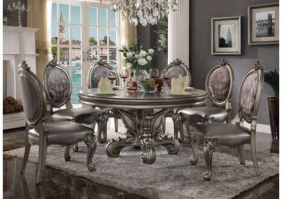 Image for Versailles Antique Platinum Round Dining Table w/6 Side Chair