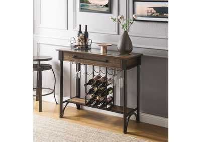 Image for Halyn Walnut & Black Bar Table