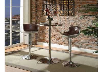 Image for Brancaster Retro Brown Top Grain Leather & Aluminum Bar Table