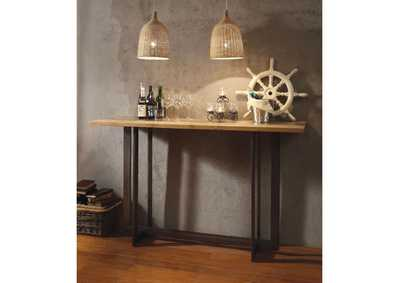 Image for Brancaster Aluminum, Oak & Antique Black Bar Table