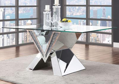 Noralie Mirrored Faux Diamonds Dining Table