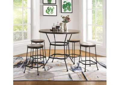 Image for Qamar Oak/Antique Black Counter Dining Set (Set of 5)