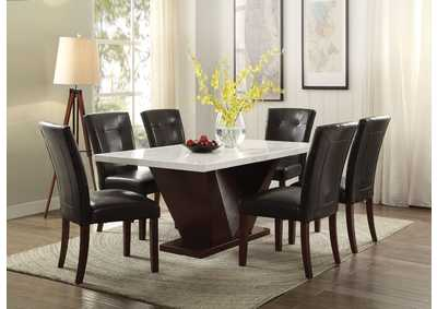 Forbes White Marble & Walnut Dining Table
