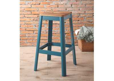 Jacotte Natural/Teal Bar Stool