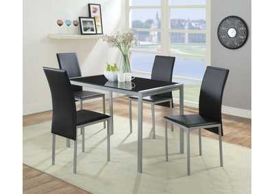 Image for Vallo Silver, Black Glass & Black PU Dining Table