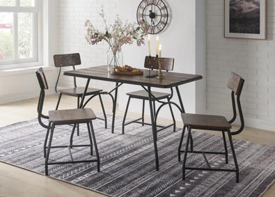 Image for Paras Walnut/Black Dining Set (Set of 5)