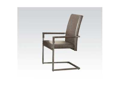 Lazarus Vintage Gray PU & Antique Silver Chair,Acme