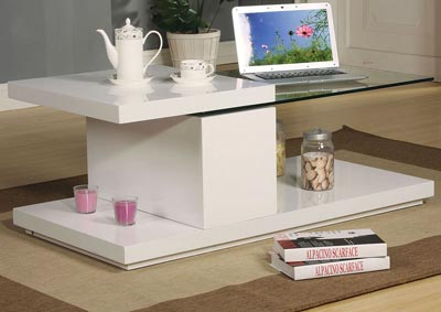 Marla White Coffee Table,Acme
