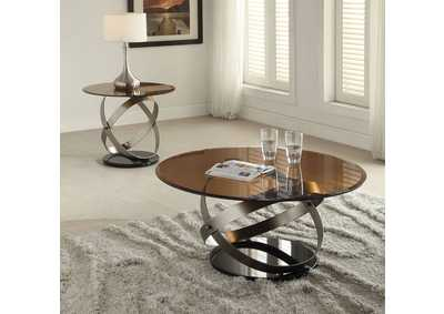 Olly Satin/Black & Smoky Glass Coffee Table