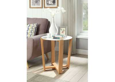 Tartan Marble & Natural Accent Table