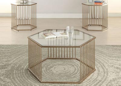 Oaklie Champagne End Table,Acme