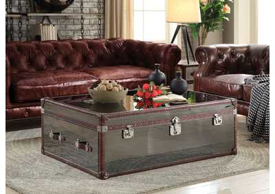 Image for Aberdeen Vintage Dark Brown Top Grain Leather & Stainless Steel Coffee Table