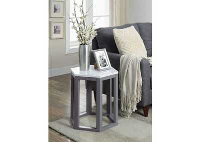 Reon Marble & Gray Accent Table