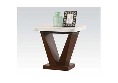 Forbes White Marble & Walnut End Table,Acme