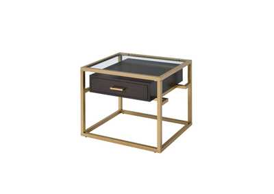 Yumia Gold & Clear Glass End Table
