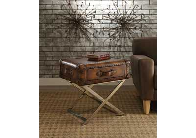 Aberdeen Vintage Mocha Top Grain Leather End Table