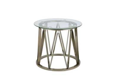 Perjan Antique Brass & Clear Glass End Table