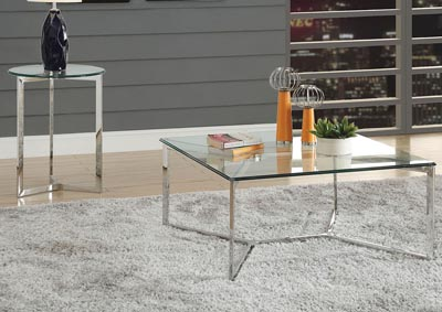 Volusius Stainless Steel & Clear Glass End Table
