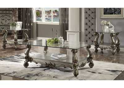 Versailles Antique Platinum & Clear Glass Coffee Table