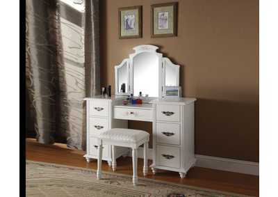 Image for Torian White Vanity Desk w/Mirror and Stool