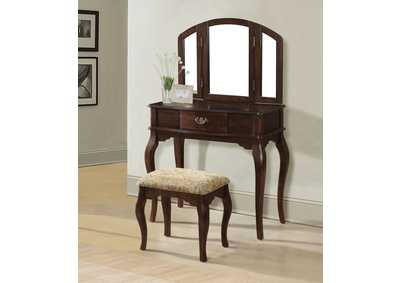 Maren Cherry Vanity Desk w/Mirror and Stool