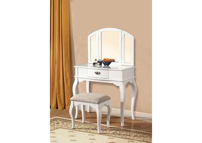 Image for Maren White Vanity Desk w/Mirror and Stool