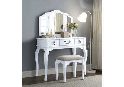 Abelus Tan Fabric & White Vanity Desk