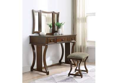Popidia Taupe Fabric & Cherry Vanity Desk