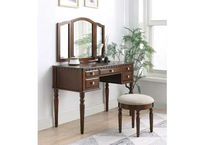 Corbulo Tan Fabric & Cherry Vanity Desk