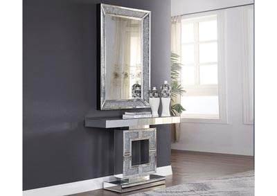 Noralie Mirrored Faux Diamonds Console Table,Acme